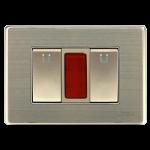 Bộ 2 công tắc đơn 1 chiều cỡ S&đèn báo đỏ UTEN W118